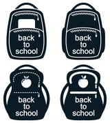 Vector black and white collection of school backpack icons Stock Illustration