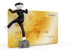 3d image, thief stealing a credit card - stock illustration