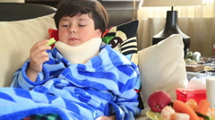 Sick child with neck brace 9 Stock Footage