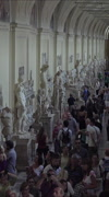 Rome Italy Vatican inside hall art and historic figures vertical HD Stock Footage