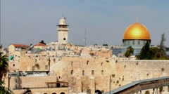Western Wall and Dome of the Rock in the old city of Jerusalem Stock Footage