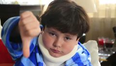 Sick child with neck brace 16 Stock Footage