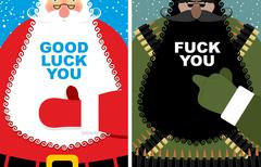 Set of cards for Christmas. Good Santa Claus and angry grandfather terrorist  Piirros