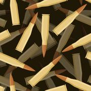Bullets 3d seamless pattern. Texture of military ammunition. Cartridges for r Stock Illustration