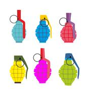 Set colored hand grenades. Fun colorful military ammunition. Army shells. Stock Illustration