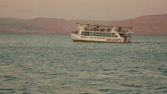 Tourist boat on the Sea of Galilee 2 - stock footage