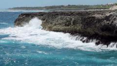 Stock Video Footage of Ocean waves crushing coastline