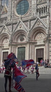 Siena Italy Corteo costume parade drummers flags Cathedral vertical HD Stock Footage