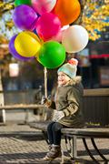 child with air-balloons - stock photo
