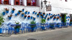 Mijas, Spain - White-washed buildings with blue pots Stock Footage