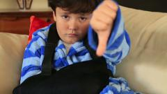 Child  with injured arm and bandage 3 Stock Footage