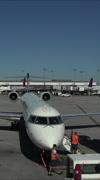 Salt Lake City Utah International Airport aircraft gate vertical HD Stock Footage