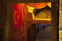 Historical Byzantine Gate with Turkish Flags in Amasra Stock Photos