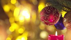 Christmas and New Year Decoration  on light Holiday Background. Stock Footage