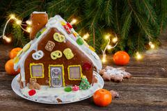 gingerbread house for christmas - stock photo