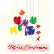 Stock Illustration of Christmas card with stylized christmas tree decoration, watercolor effect