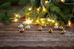 christmas background with lights - stock photo