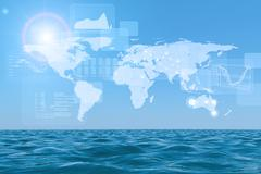 Stock Illustration of Abstract background with sea and graphical charts