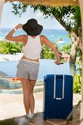 Stock Photo of girl arrived on vacation with suitcase
