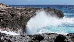 Ocean waves crushing coastline Stock Footage