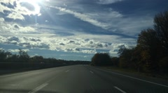 High Speed Country Road Trip with Beautiful Clouds  Stock Footage