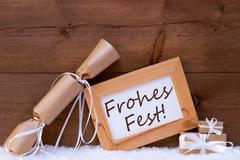 Gift With Text Frohes Fest Mean Merry Christmas, Snow Stock Photos