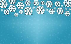 Snowflakes on winter background with copyspace Stock Photos