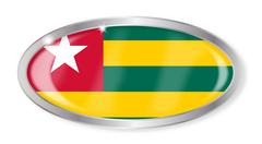 Togo Flag Oval Button - stock illustration