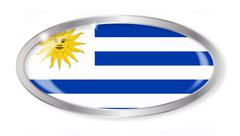 Uruguay Flag Oval Button - stock illustration