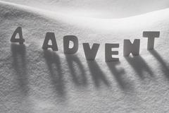 White Word 4 Advent Means Christmas Time On Snow - stock photo