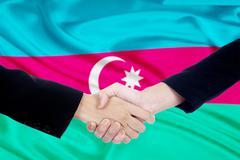 Handshake with flag of azerbaijan Stock Photos