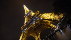 Tour Eiffel Sparkling Lightshow Stock Footage