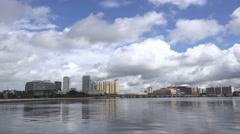 Skyline Of Tampa Florida Reflection In Water Fluffy Clouds In Sky Stock Footage