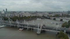 Hungerford Bridge and the River Thames Stock Footage
