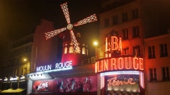 Moulin Rouge at Night Stock Footage