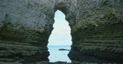 A Flamborough Head Cave in East Yorkshire Stock Footage