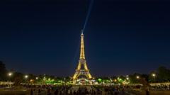 Paris champ de mars eiffel tower sparks panorama 4k time lapse france Stock Footage