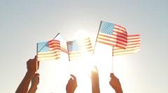 Lots of people waving American flags. Stock Footage