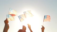 People waved American flags. Stock Footage