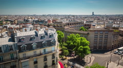 sunny day paris city roof top traffic street panorama 4k time lapse france - stock footage