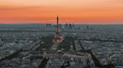 Stock Video Footage of sunset paris eiffel tower champ de mars panorama 4k time lapse france