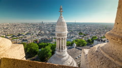 Day basilica of sacre observation deck paris panorama 4k time lapse france Stock Footage