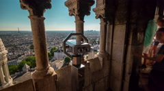 basilica of sacre observation deck paris city panorama 4k time lapse france - stock footage