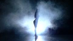 beautiful striptease dancer posing in studio. Slow motion. smoke. side view - stock footage