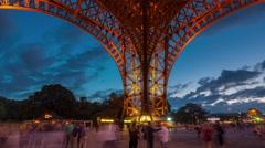 Paris champ de mars under eiffel tower tourist place 4k time lapse france Stock Footage