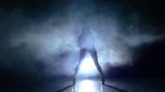 sexy woman striptease dancer in erotic lingerie. Slow motion, smoke - stock footage