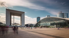 grande arche de la defense paris sunset square panorama 4k time lapse france - stock footage