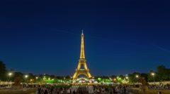 Paris champ de mars eiffel tower night panorama 4k time lapse france Stock Footage