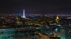 paris city center night illumination roof top panorama 4k time lapse france - stock footage