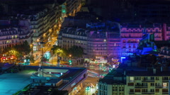 Paris center night light living block roof top panorama 4k time lapse france Stock Footage
